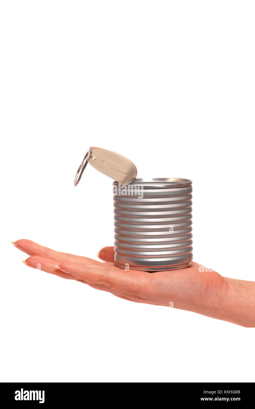 female hand holding an open aluminium can - Stock Image