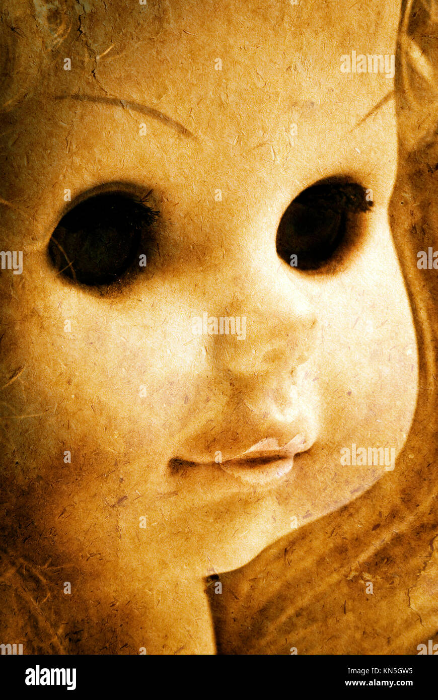 close up of a grunge horror doll - Stock Image