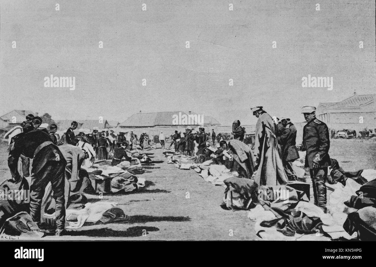 Boxer Rebellion 1900, Russian army, Inspection of the equipment, Picture from the French weekly newspaper l'Illustration, - Stock Image