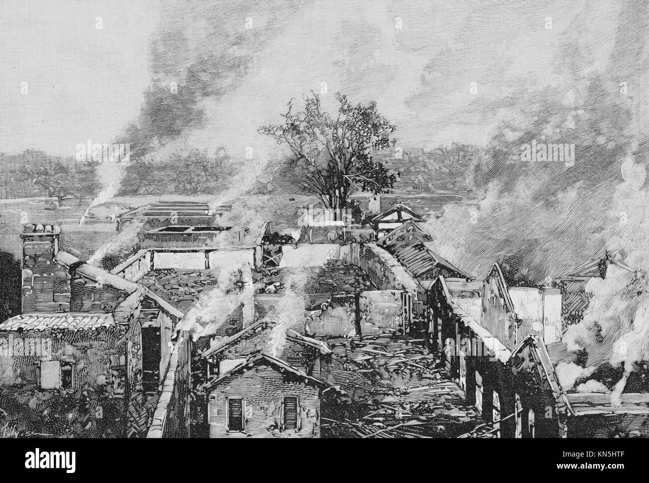 Boxer Rebellion 1900, Houses burned by the Chinese near the American legation, Picture from the French weekly newspaper Stock Photo