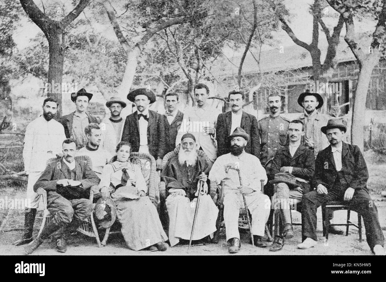 Boxer Rebellion 1900, Portrait of volunteers who have defended the French Legation during the Boxer siege, Picture - Stock Image