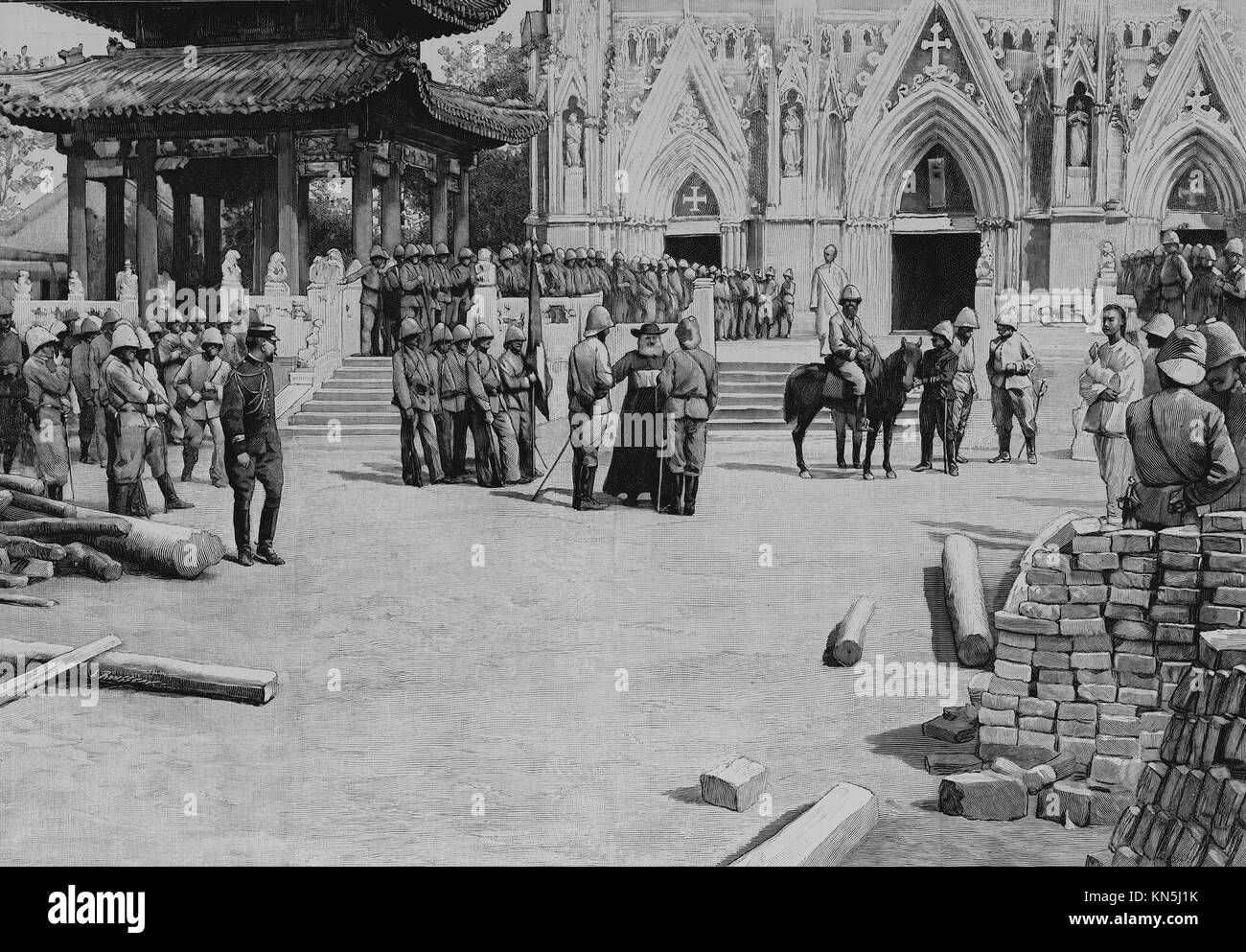 Beijing 1900, Te Deum in the Church of Saviour or Pe-Tang Cathedral, Picture from the French weekly newspaper l'Illustration, - Stock Image