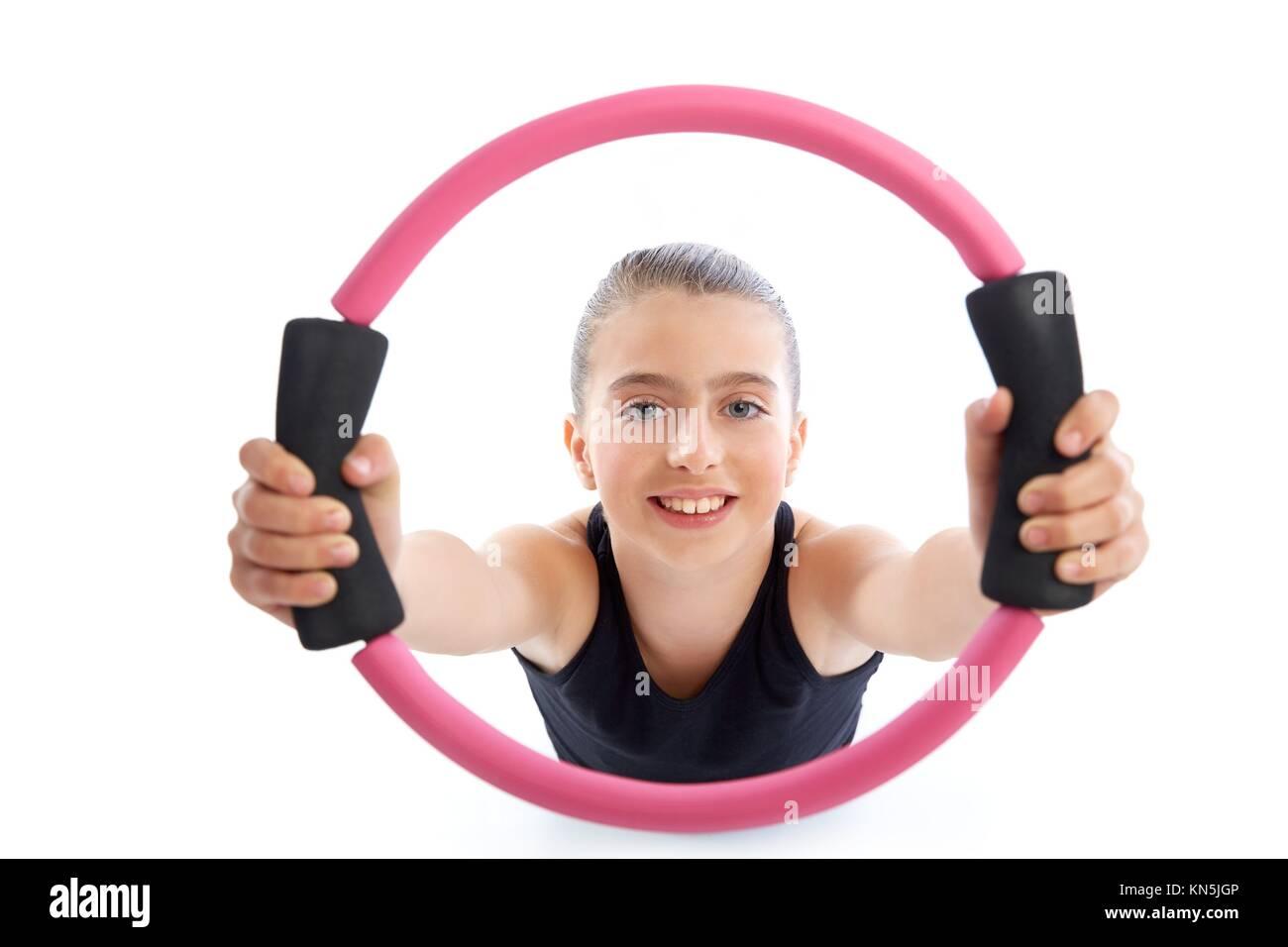 Fitness Pilates Yoga Ring Kid Girl Exercise Workout On White Stock Photo 167925430 Alamy