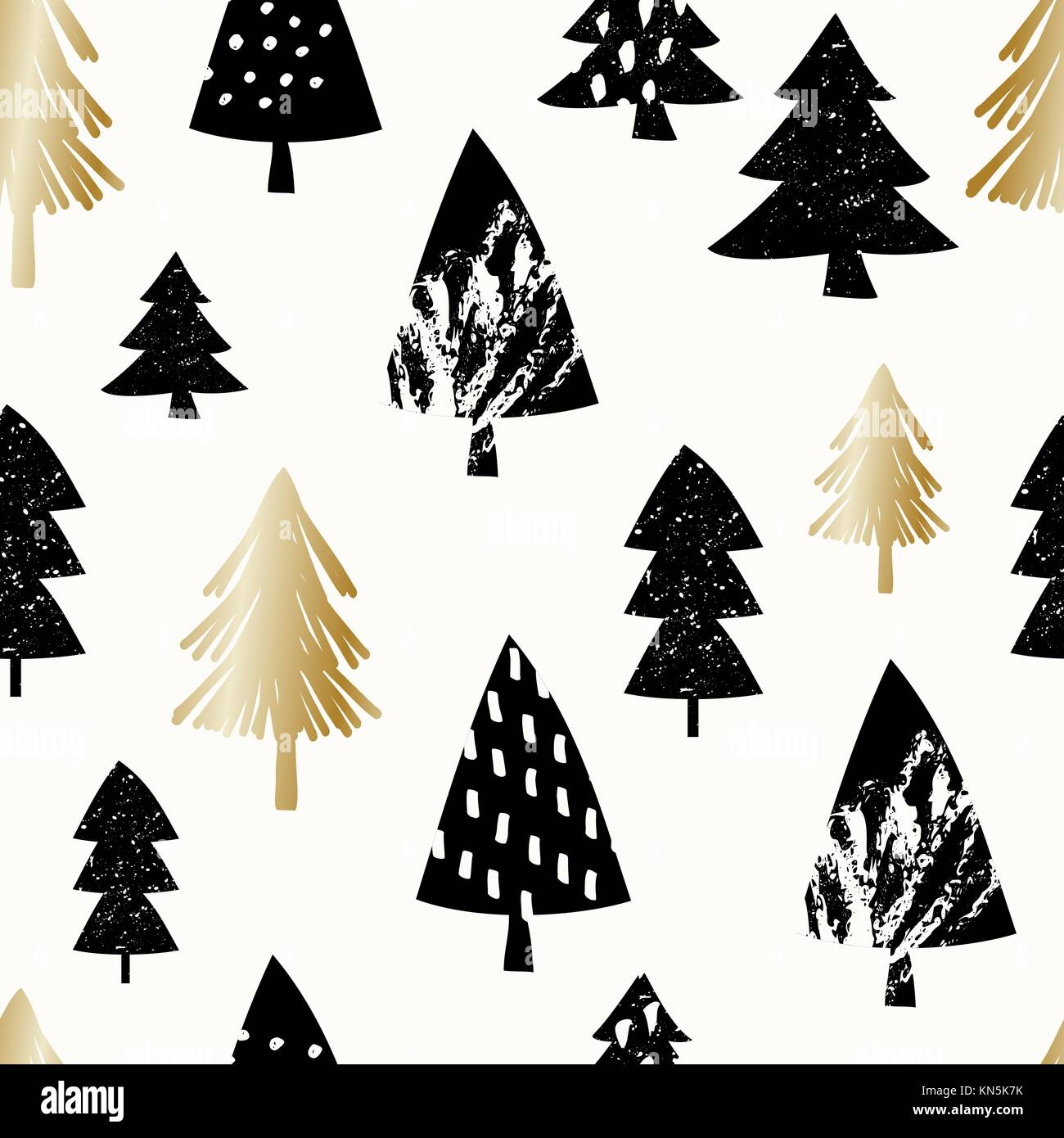 Seamless Repeating Pattern With Christmas Trees In Black And Gold On Stock Vector Image Art Alamy