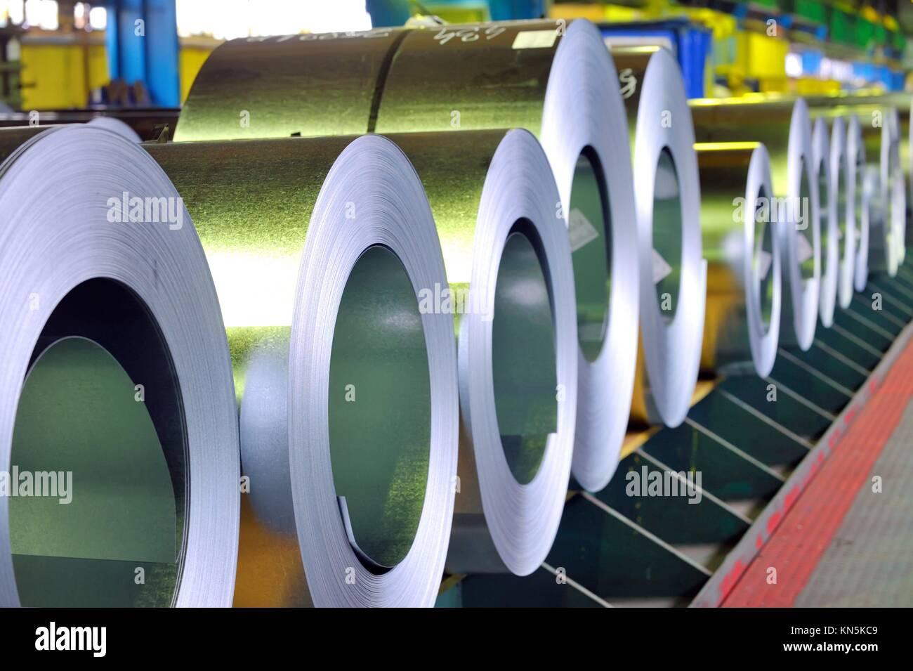 rolls of zinc steel sheet. Stock Photo