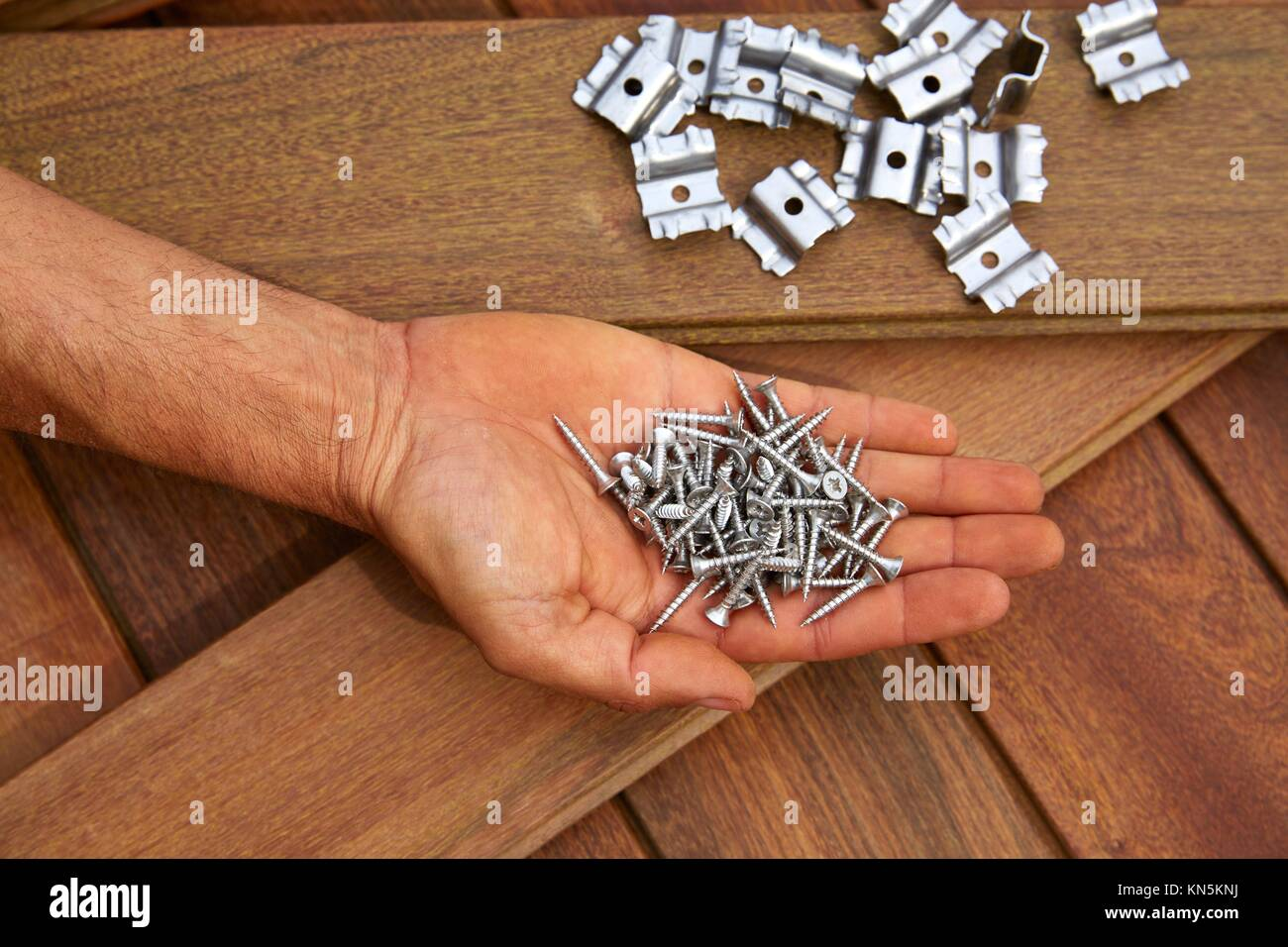 Ipe decking deck wood installation screws clips and fasteners. - Stock Image