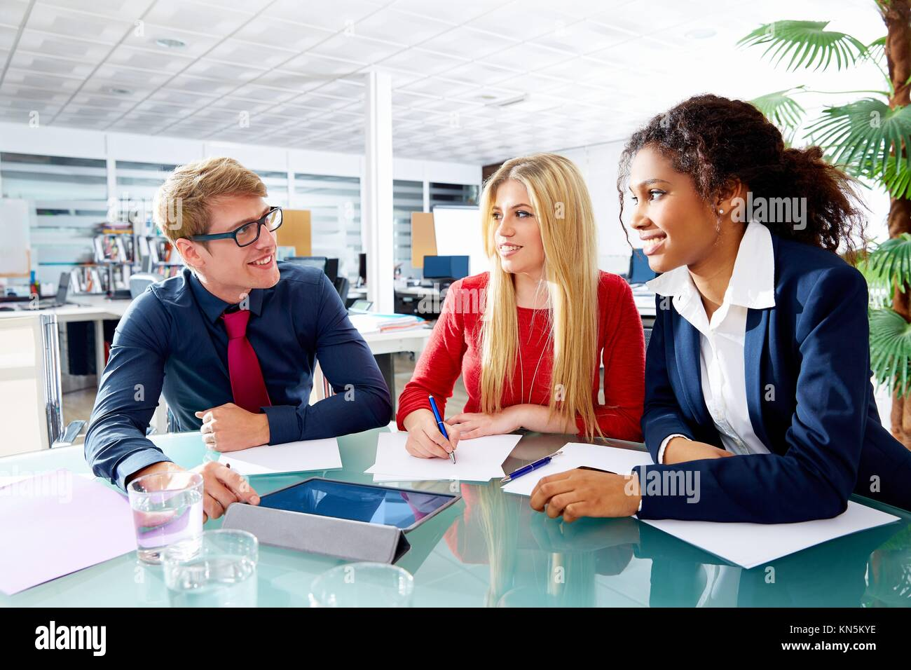 Executive business people team meeting at office teamwork young multiracial. - Stock Image