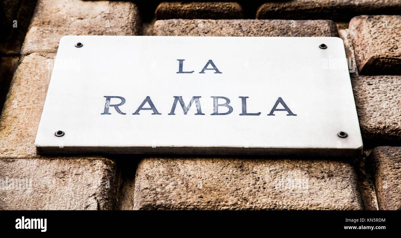 Streetsign of the famous La Rambla street in Barcellona, Spain. - Stock Image