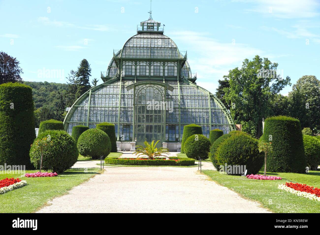 Palmenhaus Schonbrunn palace garden Vienna Austria. - Stock Image