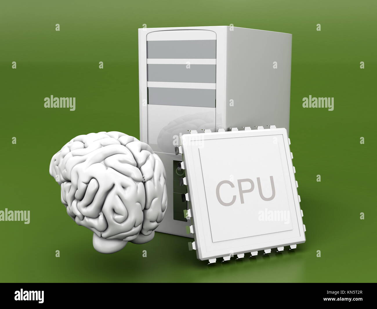 Artificial Intelligence Symbol. 3D rendered Illustration. Gray background. - Stock Image