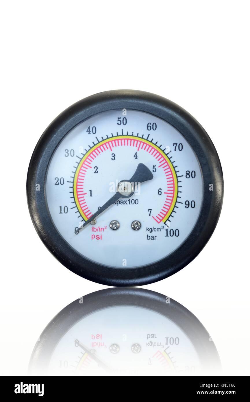 A close up shot of a pressure gauge. - Stock Image