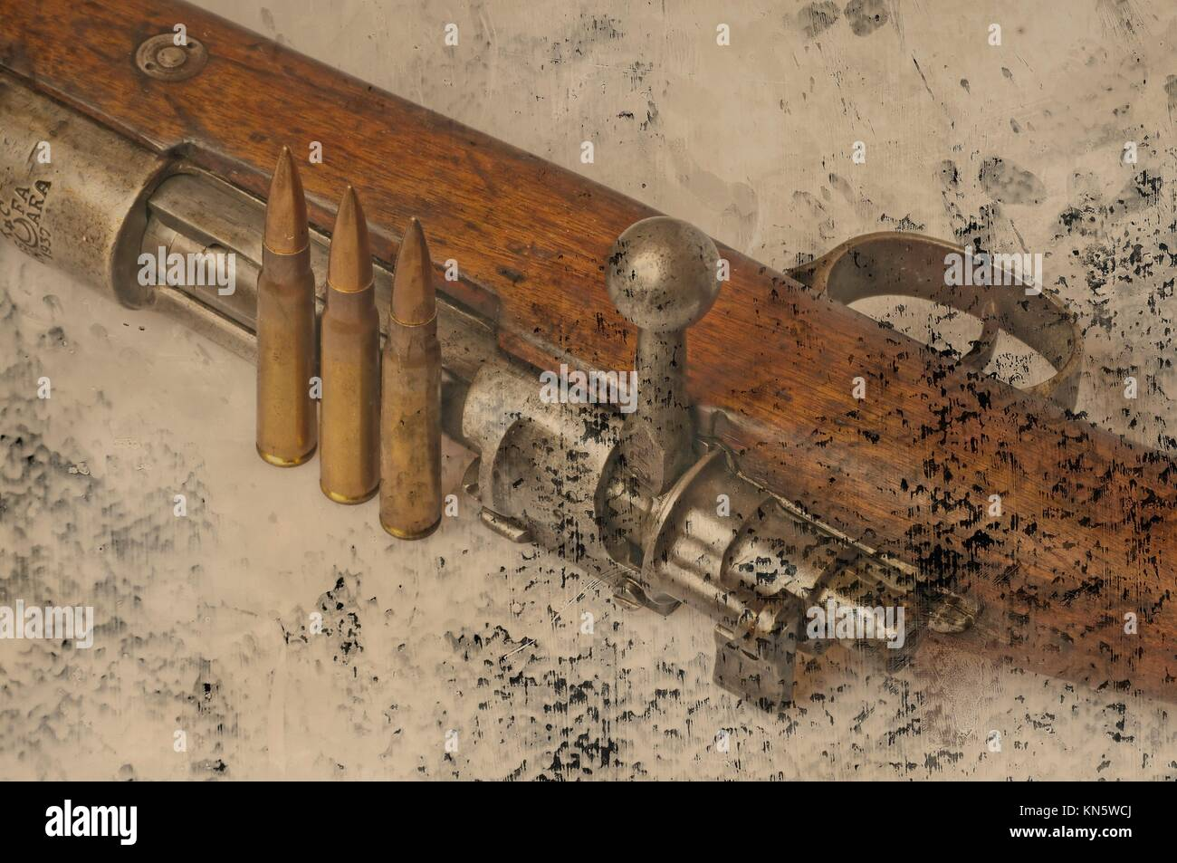 carbine with ammunition. - Stock Image