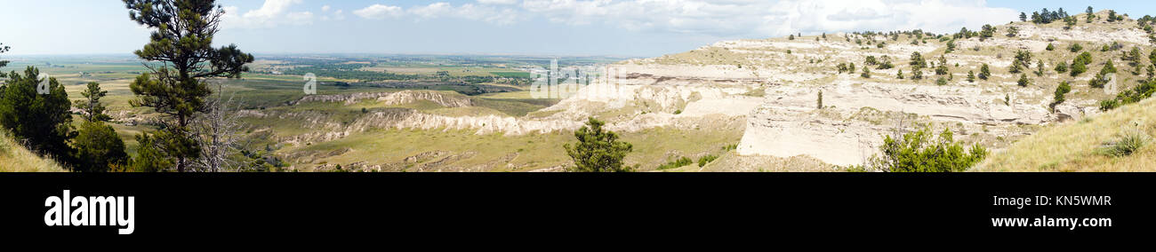Long panoramic view of the valley from a butte in western Nebraska - Stock Image