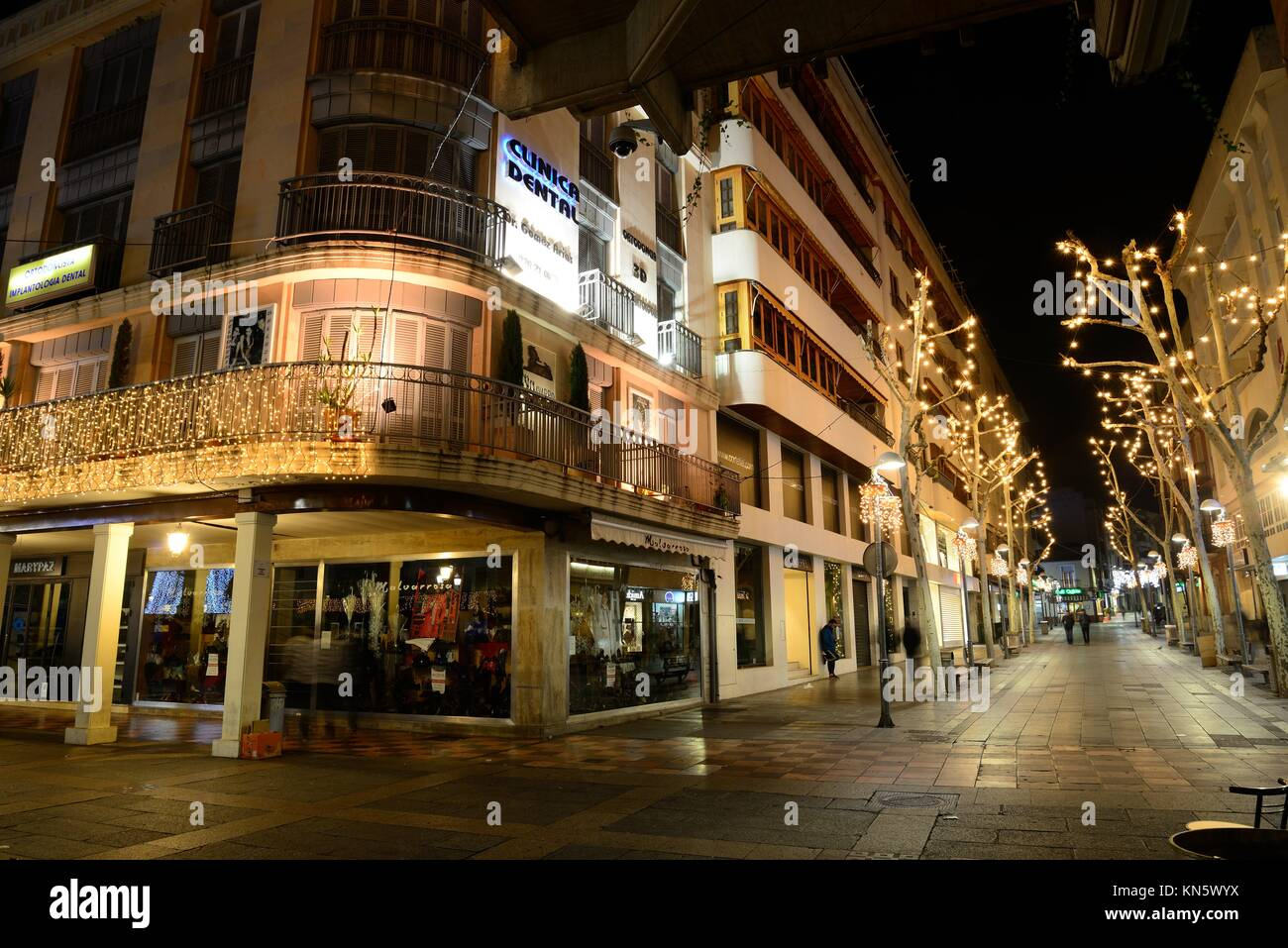 Premises exposing its kind in Christmas season in the city of Ciudad Real, Spain. - Stock Image