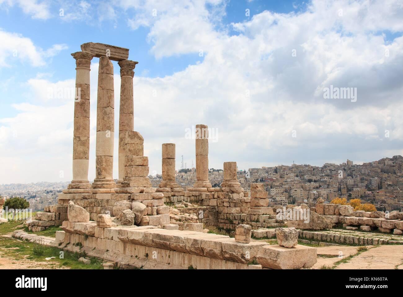 Amman Citadel ruins in Jordan. - Stock Image