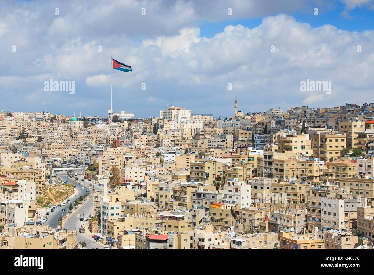Amman, Jordan: Panoramic view of Amman from one of the hills sorrounding the city. - Stock Image