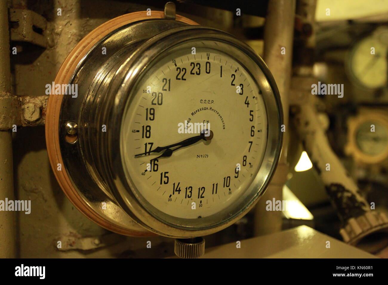 Marine chronometer on board of the submarine - Stock Image