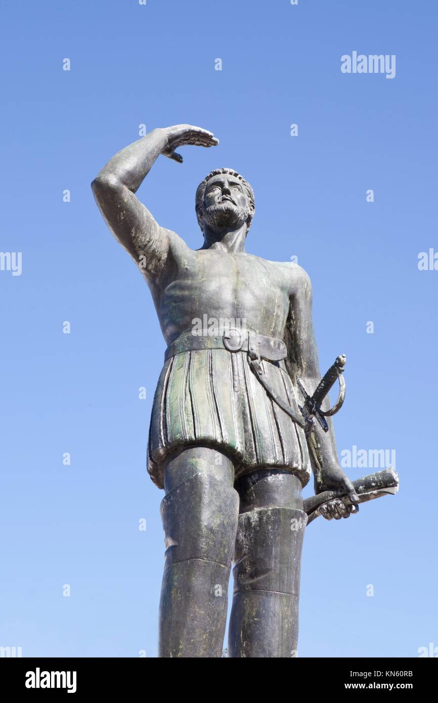 Vasco Nunez de Balboa statue, Jerez de los Caballeros, Spain. He was the discoverer of the Pacific Ocean. - Stock Image