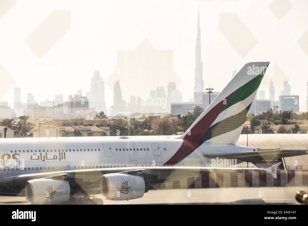Emirates Airline A380 Jumbo at Dubai Airport with the view