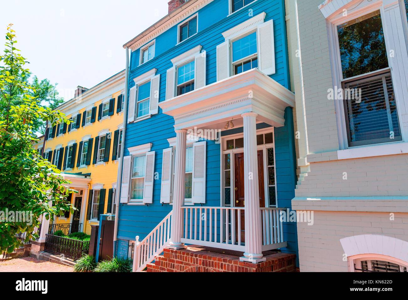 Georgetown historical district townhouses facades Washington DC in USA. - Stock Image