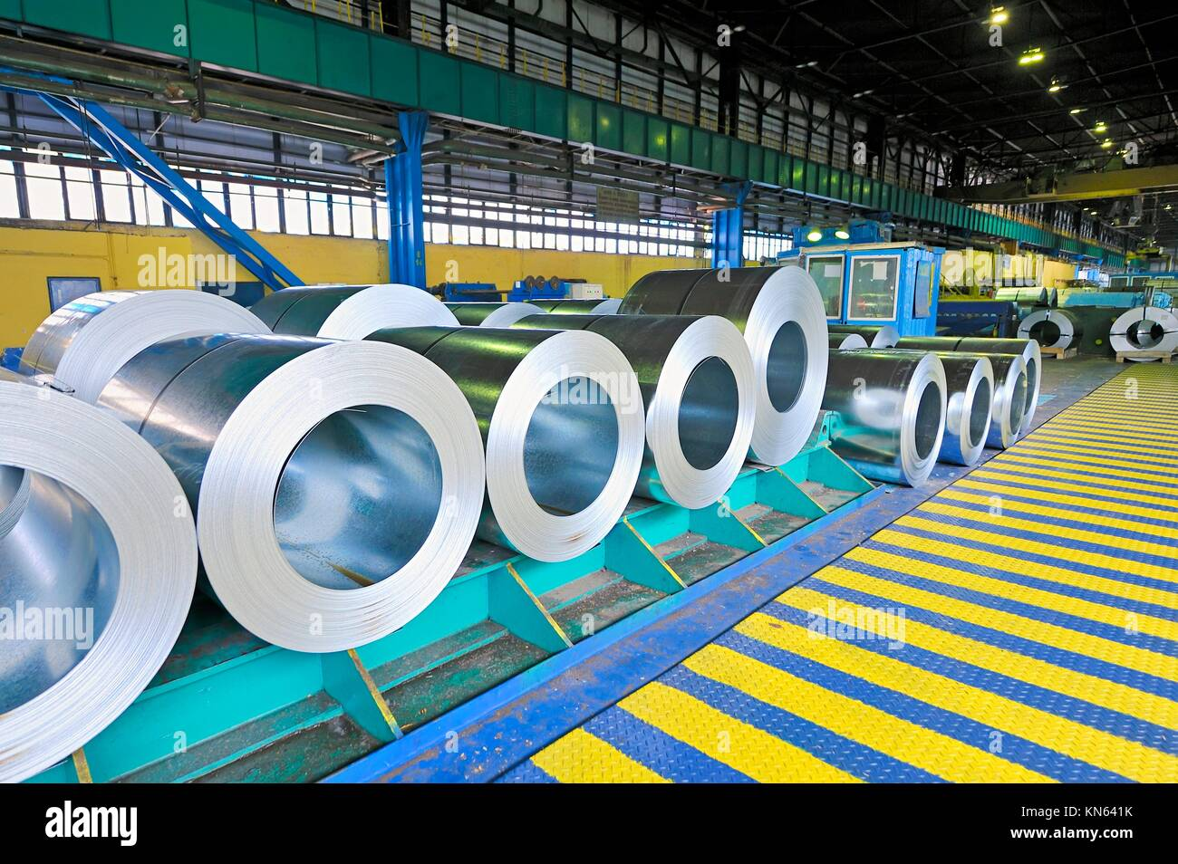 packed rolls of steel sheet. Stock Photo