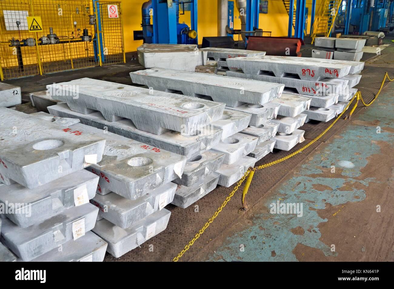 ingot plumb aluminium. - Stock Image