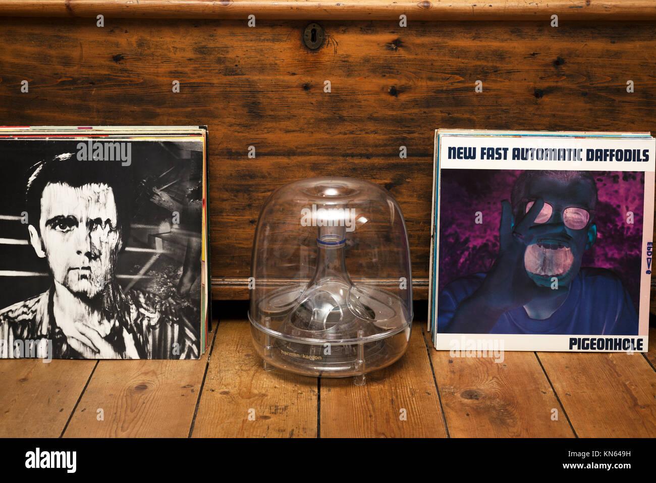 LP records and Harman Kardon bass speaker Stock Photo