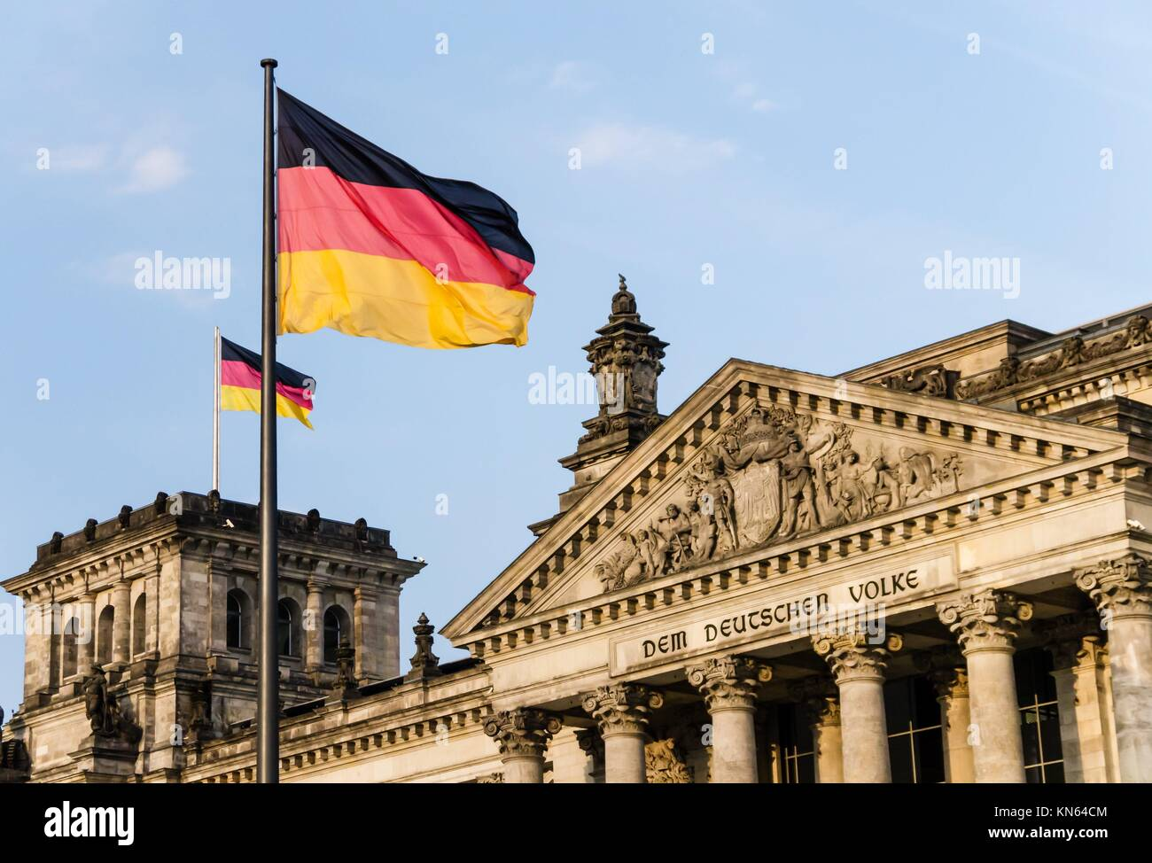 bundestag building in berlin with blue sky. - Stock Image