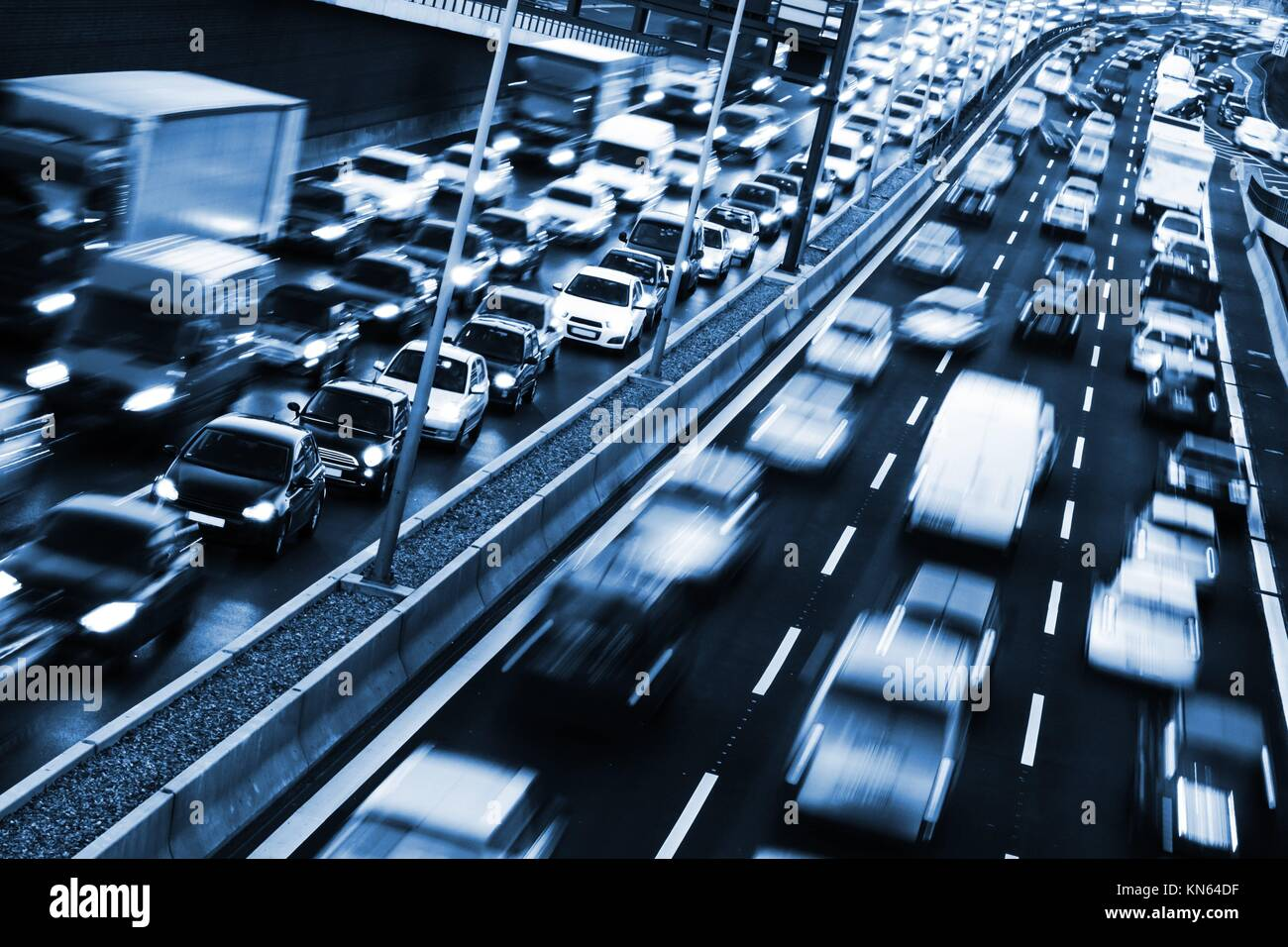 congestion on a higway on rush hour time. - Stock Image