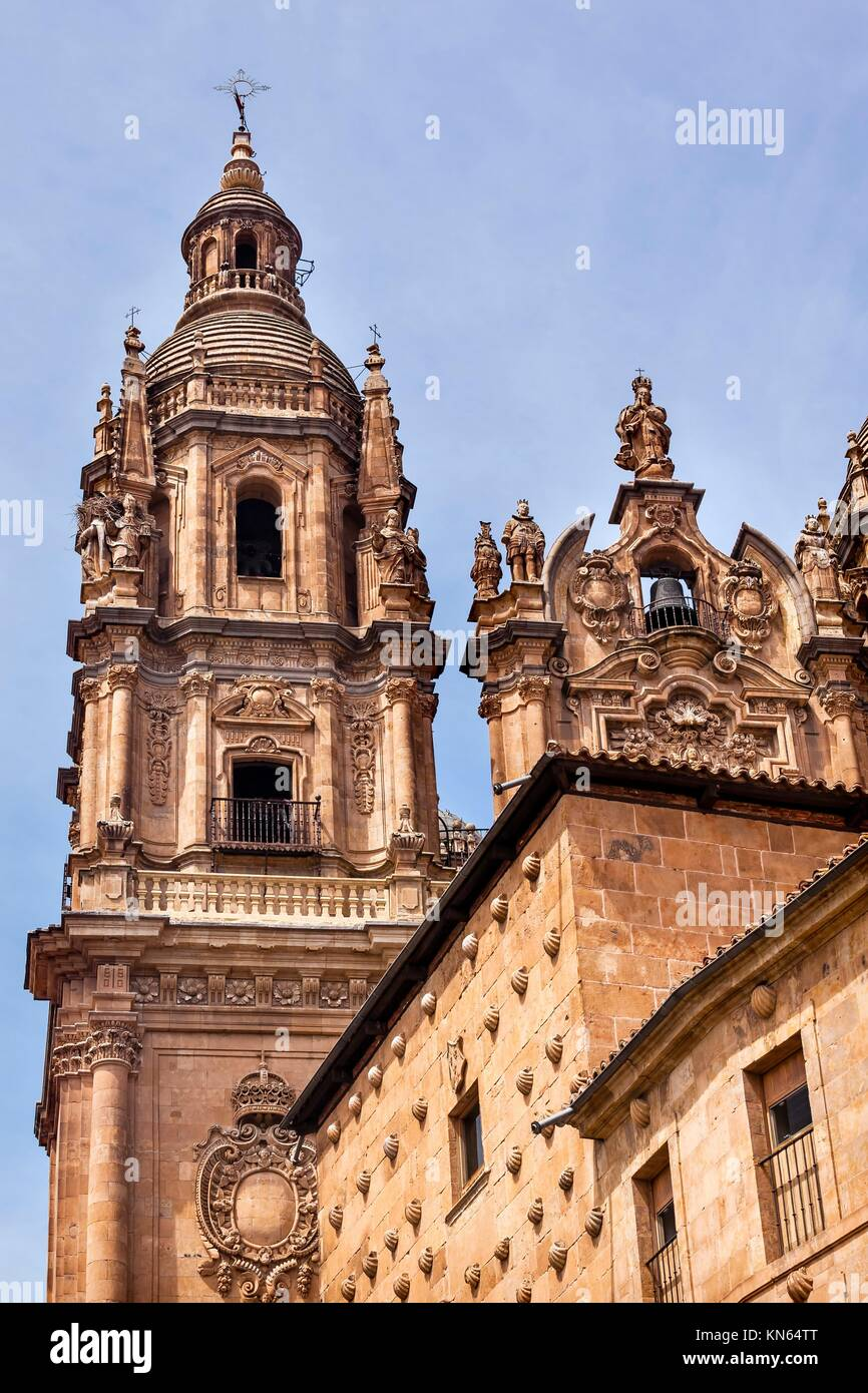 Stone Tower New Salamanca Cathedral Spain. The New and Old Cathedrals in Salamanca are right next to each other. - Stock Image