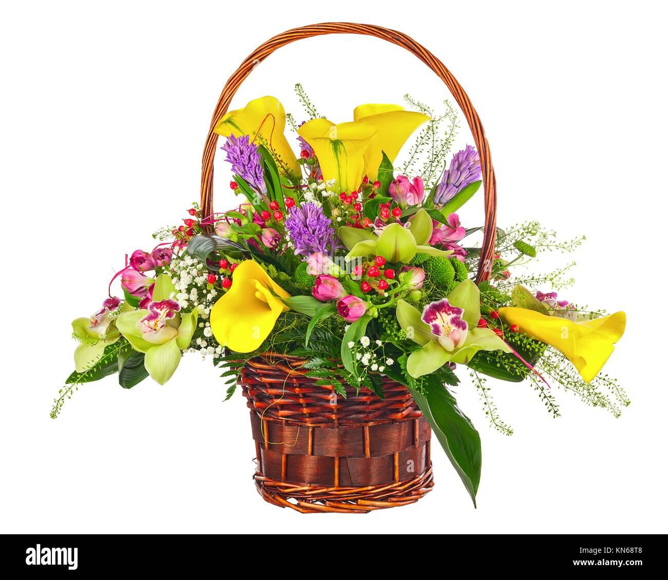 Colorful flower bouquet arrangement centerpiece in wicker