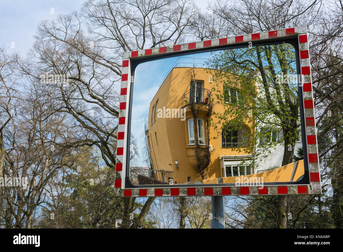 Warped House Reflection in Safety Reflector Abstract - Stock Image