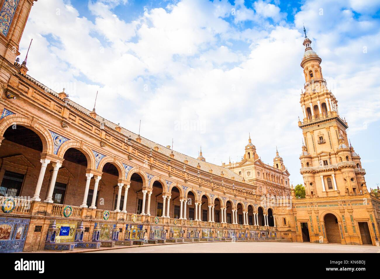 Spain, Seville. Spain Square, a landmark example of the Renaissance Revival style in Spanish architecture. - Stock Image