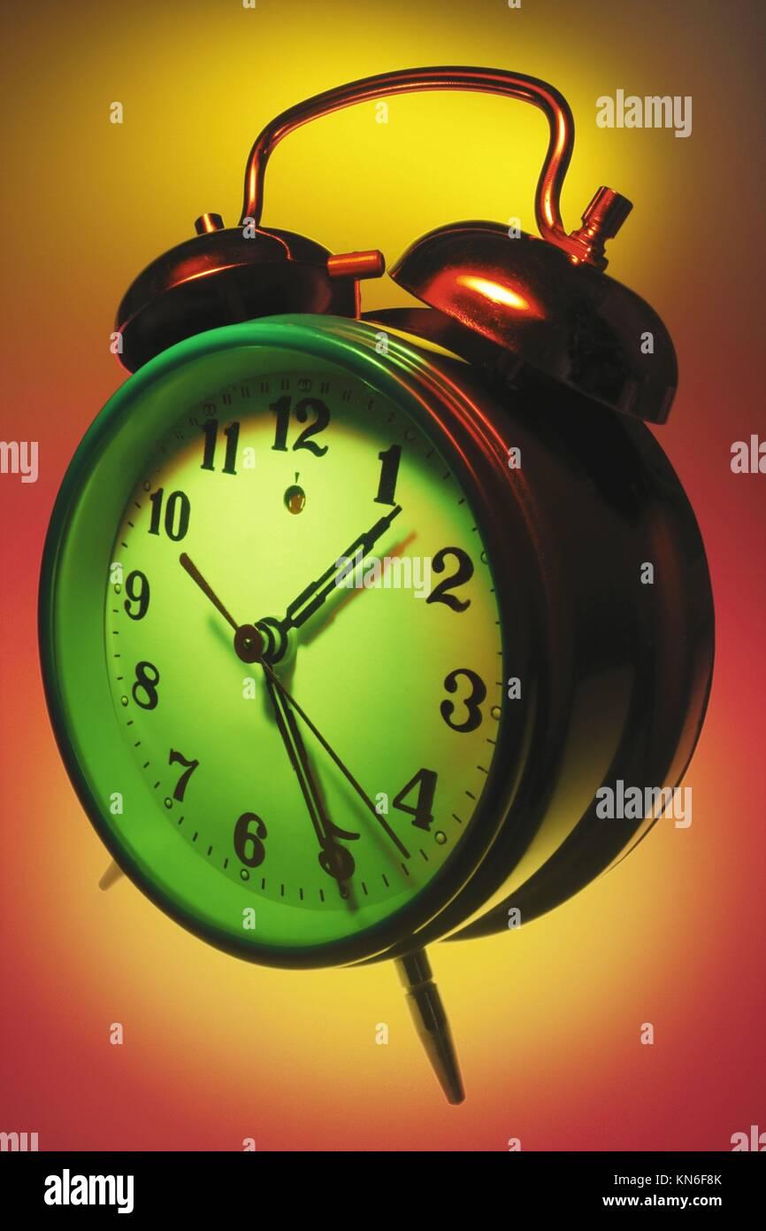 Alarm Clock alarm clock, snooze, awaken, buzzing, ringing, noise, bedside clocks, time, timepiece, minutes, seconds, - Stock Image
