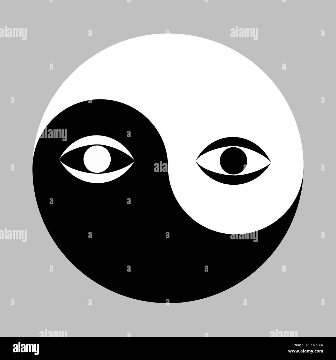 Yin Yang symbol and eye. - Stock Vector
