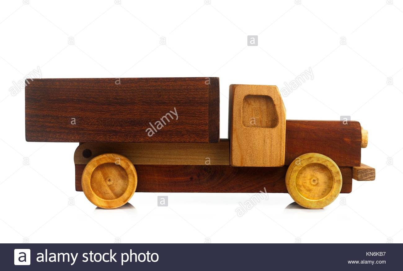 Wooden truck toy isolated on white background. - Stock Image
