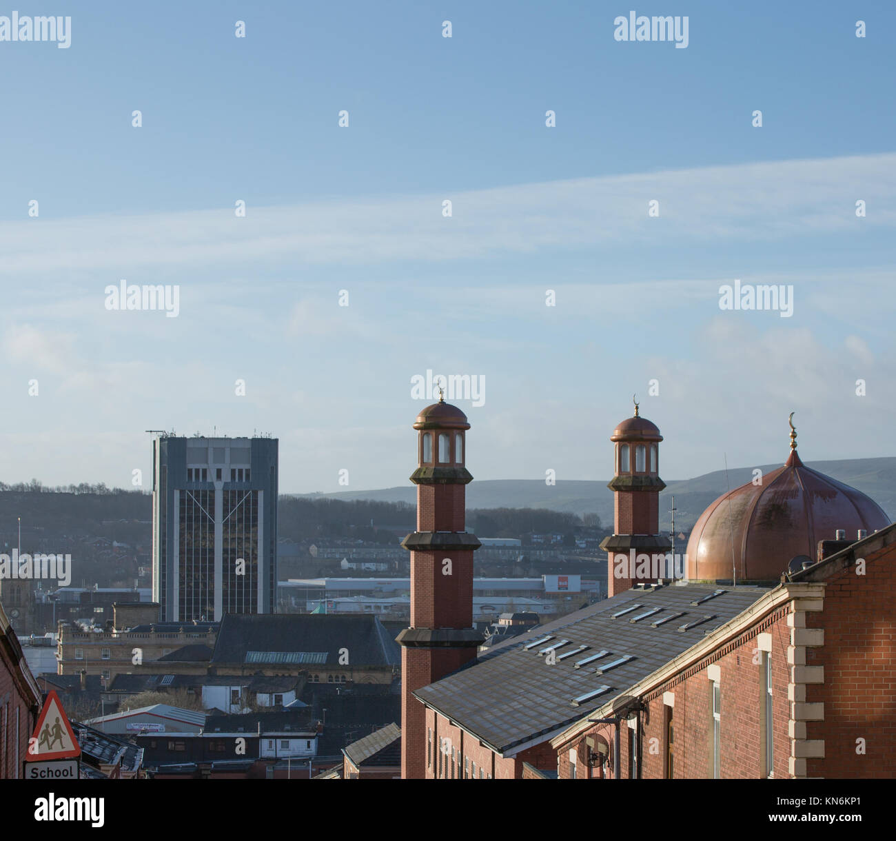 Mosque on Bold Street Blackburn set against the town hall with blackburn cathedral in the background - Stock Image