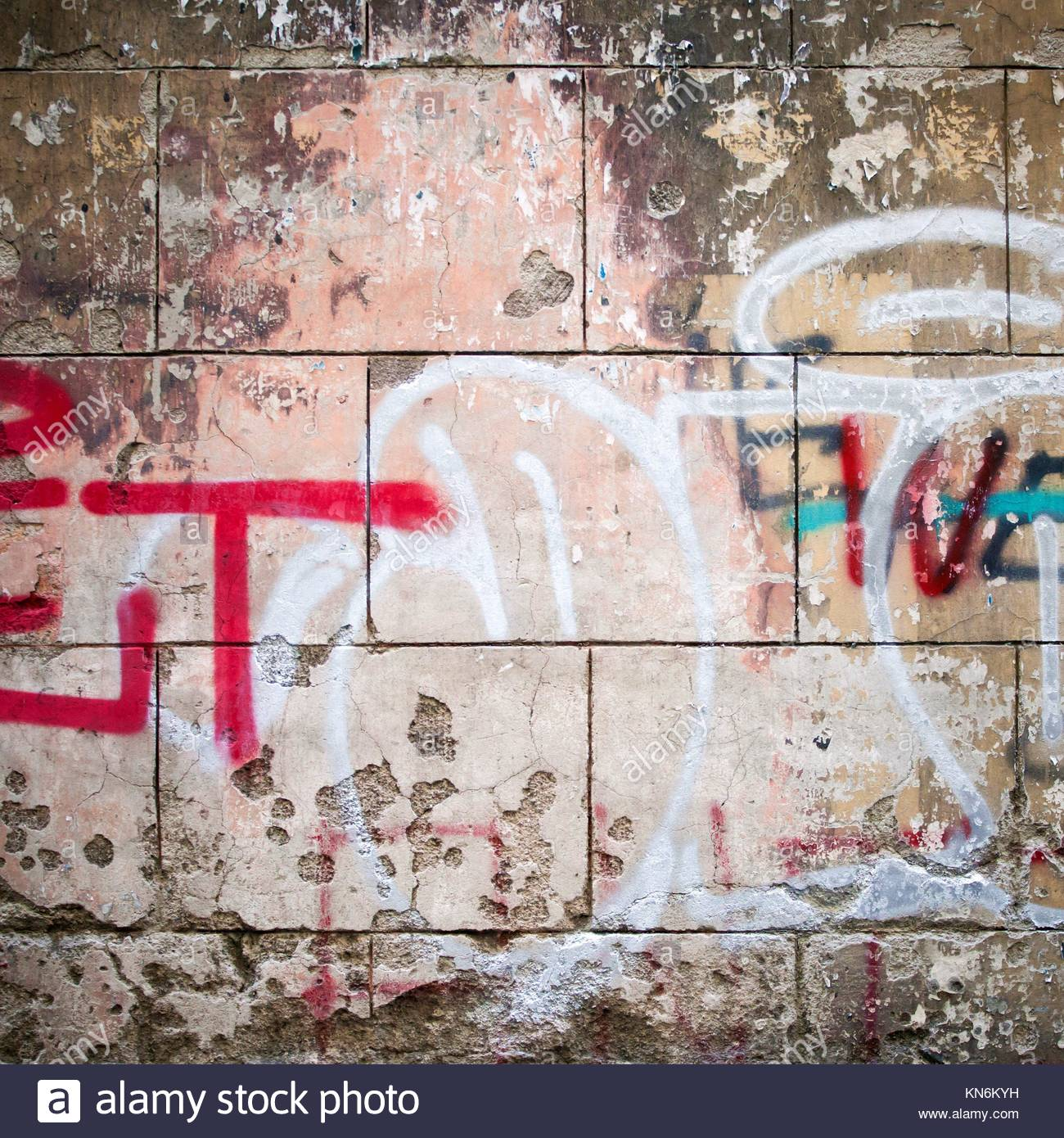 Extreme close up of colourful graffiti on concrete wall stock image