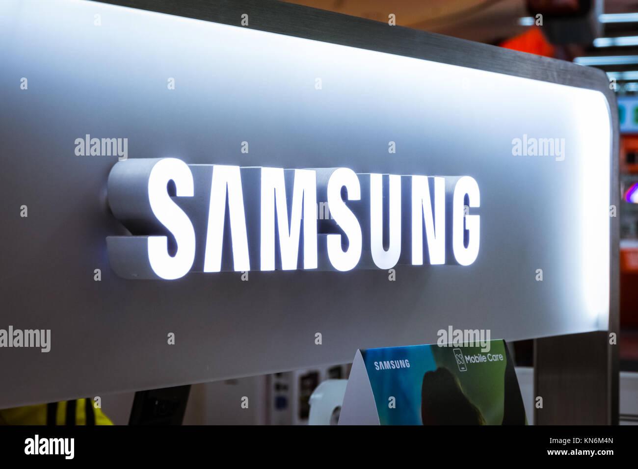 Samsung Logo Electronics Store Technology Display Exhibit October 27 2017 - Stock Image
