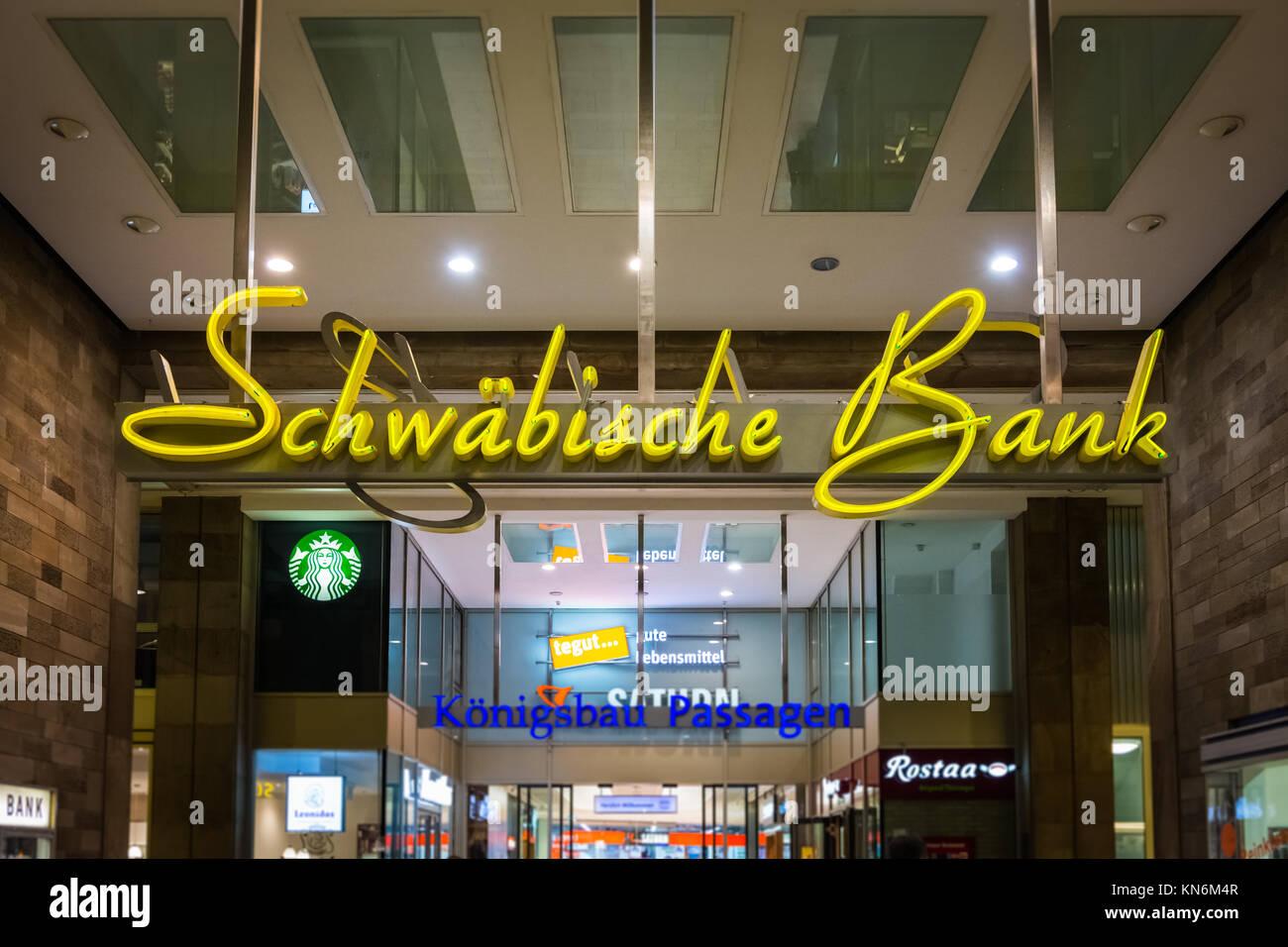 Schwaebische Bank Swabia Stuttgart Main Street Koenigsbau Famous Logo Financial Institution Entrance October 27 - Stock Image