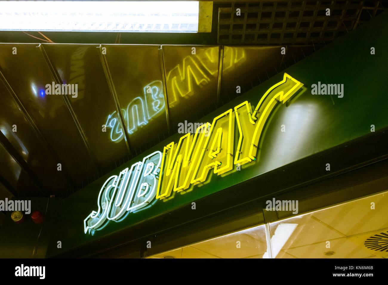 Subyway Restaurant Logo in Stuttgart Stadtmitte Subway Station October 27 2017 - Stock Image