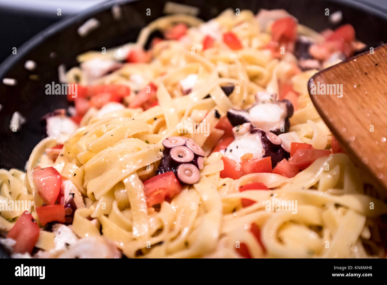 Seafood pasta with octopus - Stock Image