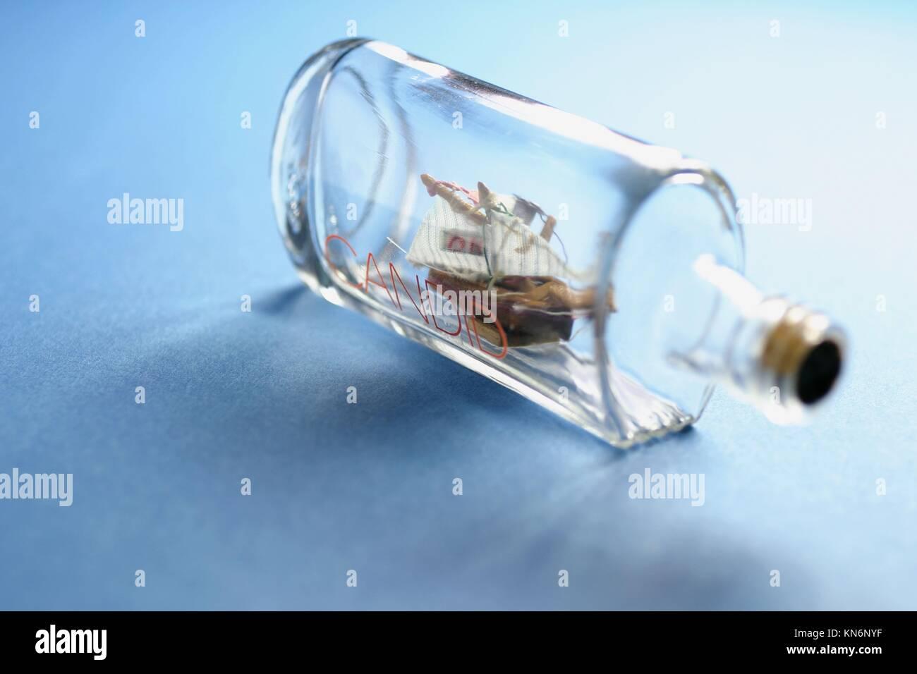 Ship model in bottle. - Stock Image