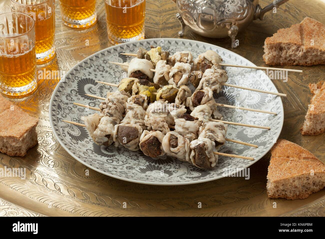 Traditional raw Moroccan boulfaf for Eid Al-Adha. - Stock Image