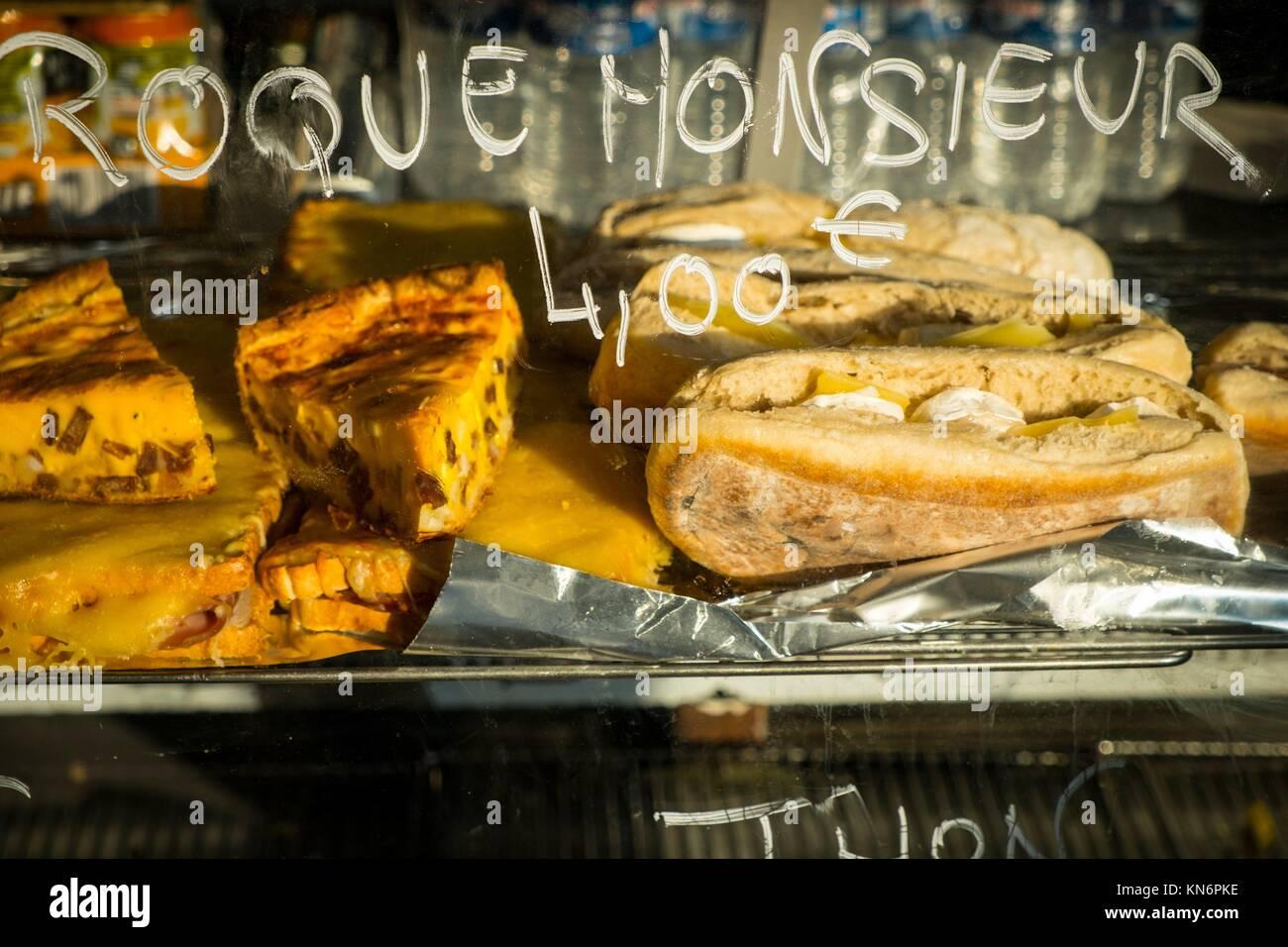 Croque-monsieurs for sale, Paris, France. - Stock Image