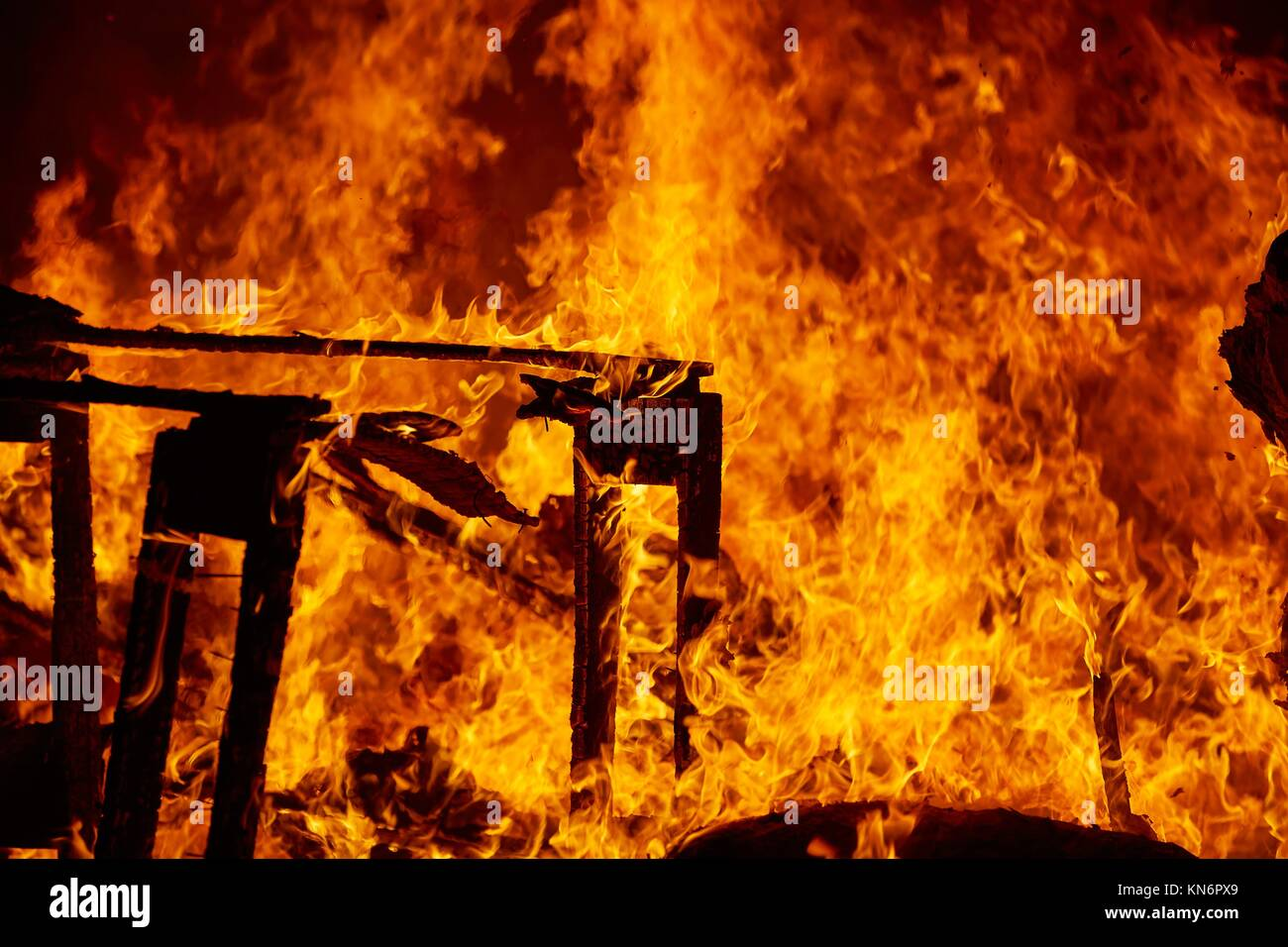 Fallas fire burning in Valencia fest at March 19 th Spain tradition. - Stock Image