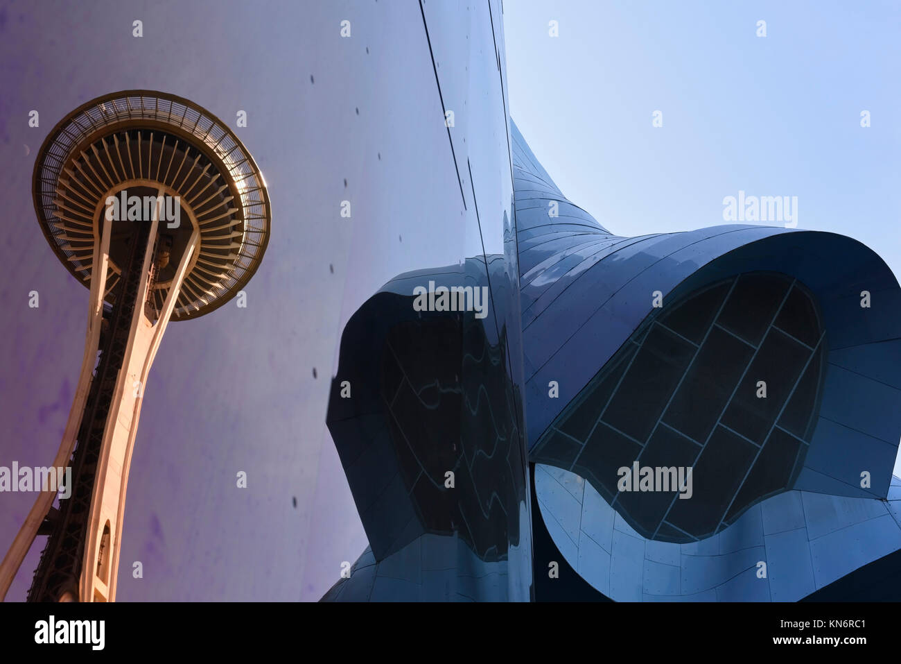 Seattle Space Needle reflected in the Museum of Pop Culture - Stock Image