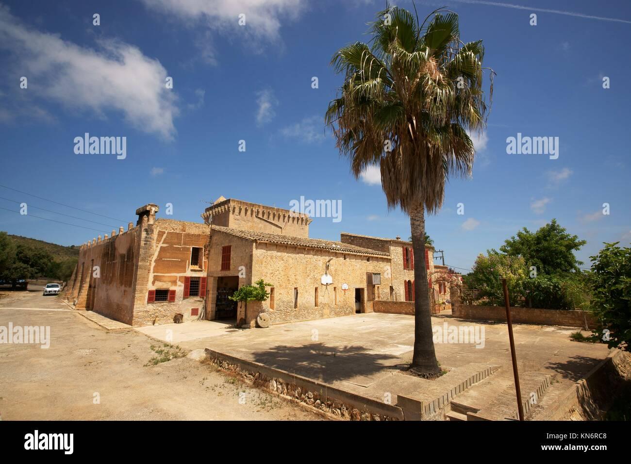 Casa fortificada de Son Forteza. Sant Llorenç des Cardassar. Majorca, Balearic Islands, Spain - Stock Image