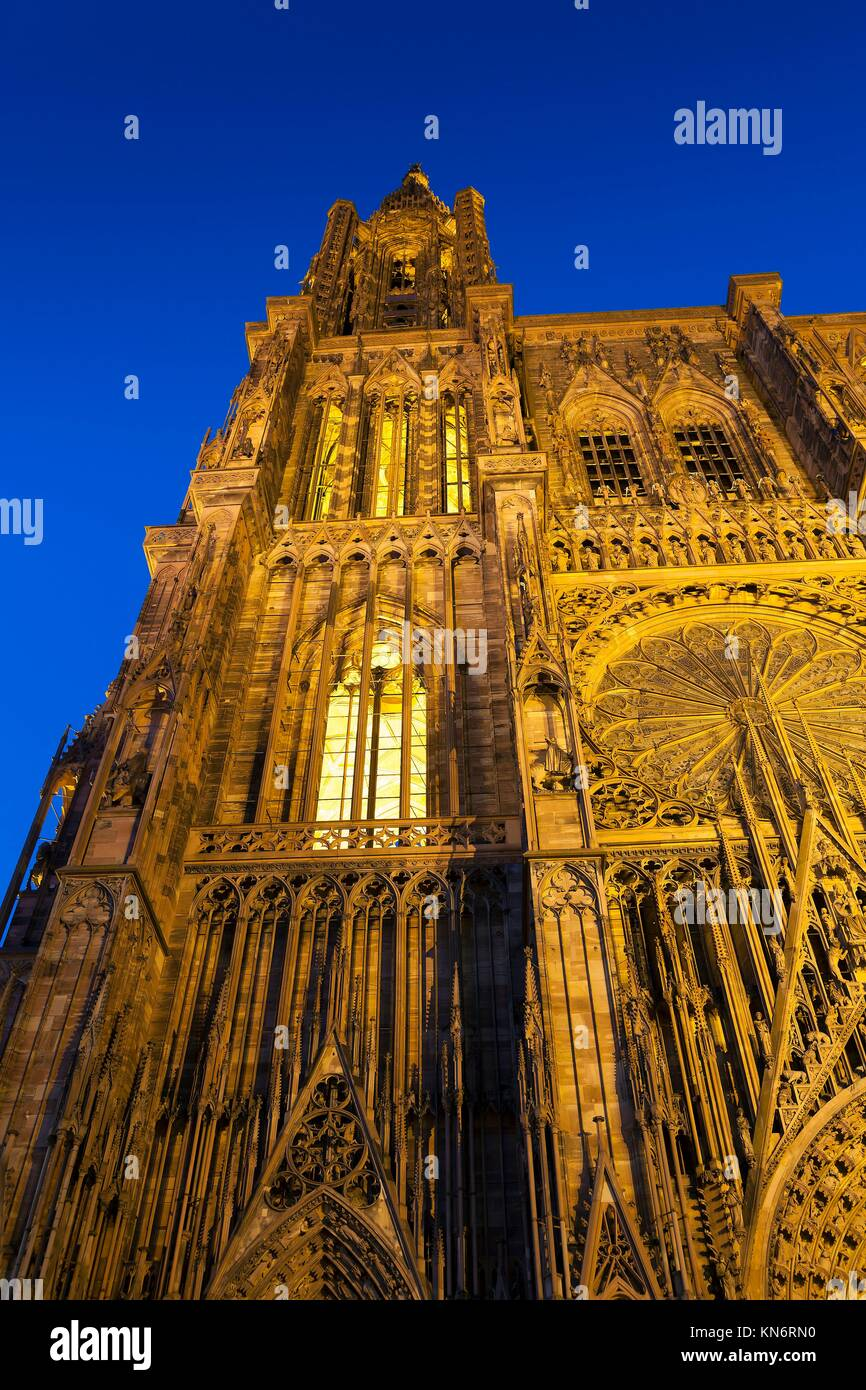 Cathedral of Strasbourg, Bas-Rhin, Alsace, France. Stock Photo