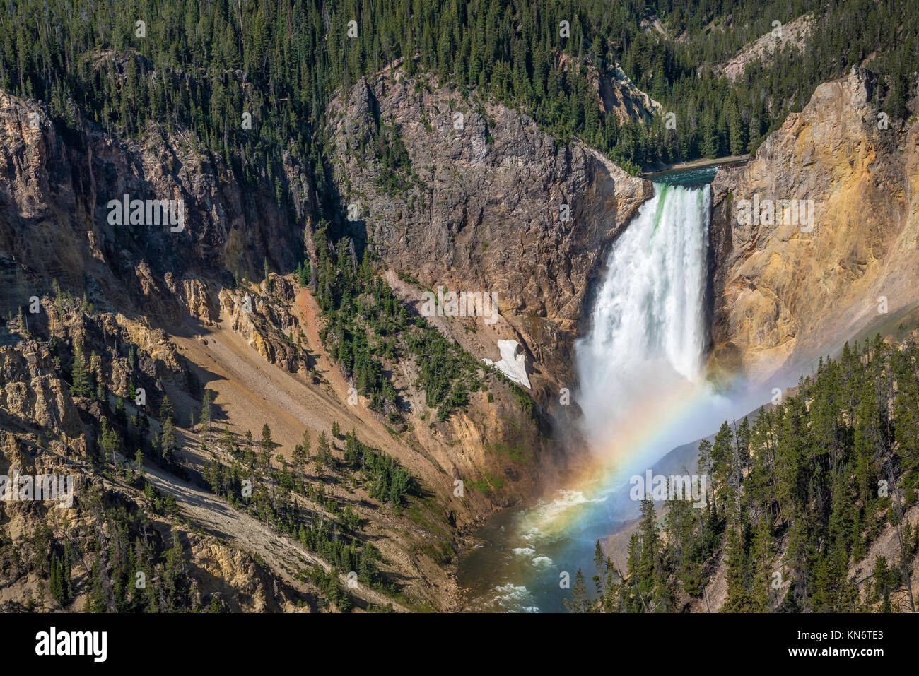 Lower Falls and rainbow from Lookout Point, Grand Canyon of the Yellowstone River, Yellowstone National Park, Wyoming, - Stock Image